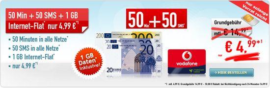 Vodafone Smart Surf Tarif (50 Freiminuten, 50 SMS, 1GB Internet) für 4,99€ monatlich