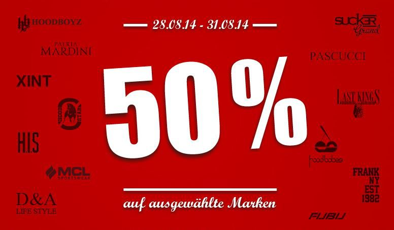 50% Rabatt auf alle Artikel von insgesamt 14 Marken @Hoodboyz   Update