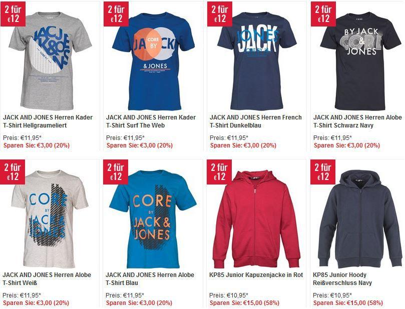 JJ MandMdirect mit 80% Rabatt auf viele Artikel z.B. 6 T Shirts Jack&Jones für 36€ inkl. Versand