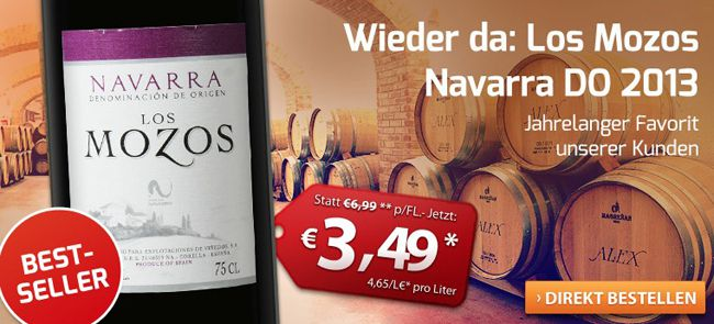 Los Mozos 6 Flaschen Los Mozos Rotwein für nur 17,44€