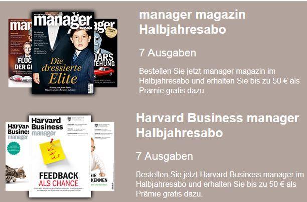 Halbjahresabo: Manager Magazin für effektiv nur 8,10€ oder Harvard Business manager für effektiv 51,50€