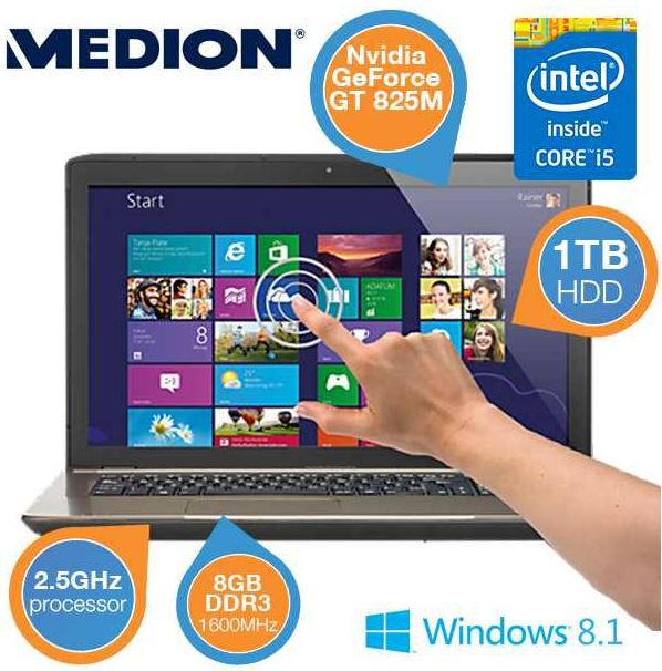 Medion Akoya P7631T (MD 98587)    17,3 touch Notebook mit i5, 8GB RAM und 1 TB HDD für 605,90€