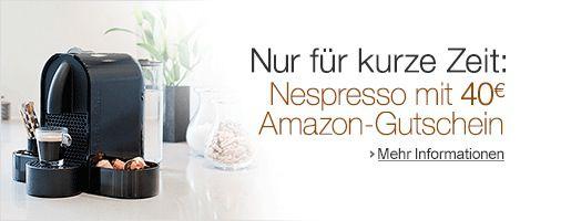 Nespresso 40€ Amazon Gutschein beim Kauf einer Nespresso Maschine