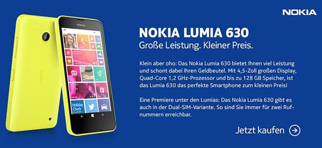 Nokia Lumia 630 Nokia Lumia 630 Einsteiger Windows Smartphone single SIM ab 89€   Update!