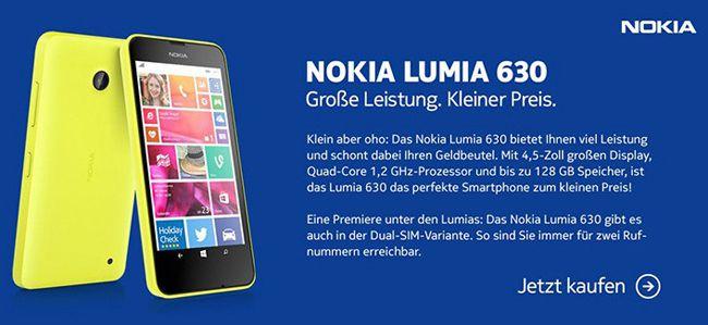 Nokia Lumia 630 Einsteiger Windows Smartphone single SIM ab 89€   Update!