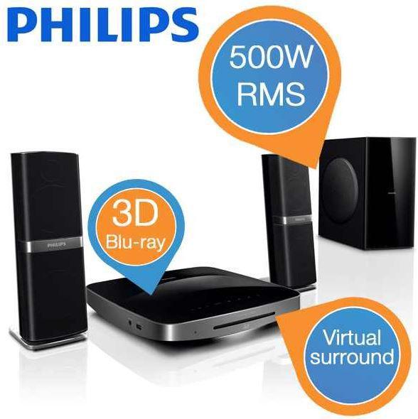 Philips HTB7250D   3D Blu ray 2.1 Heimkino System statt 479€ für 308,90€