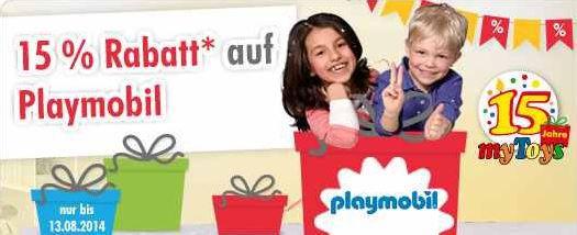 Playmobil mit 15% Rabatt auch auf Sale Ware @MyToys + 10€ Neukundengutschein