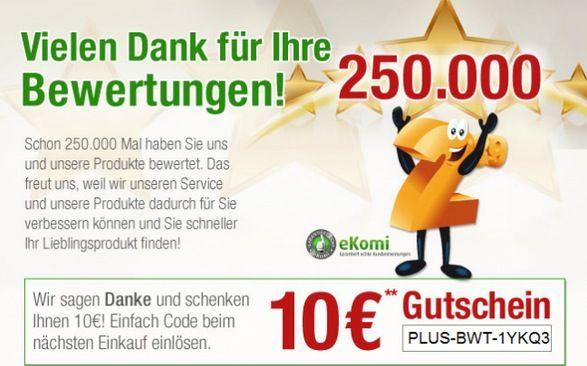 Plus Gutschein 10€ Plus.de Gutschein mit 60€ MBW