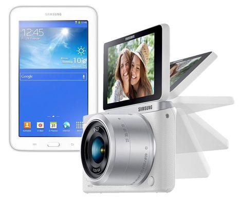 Samsung Digitalkamera NX Mini 9 mm + 9 27mm Kit + Samsung Galaxy Tab 3 7.0 Lite 8GB WiFi für 399€