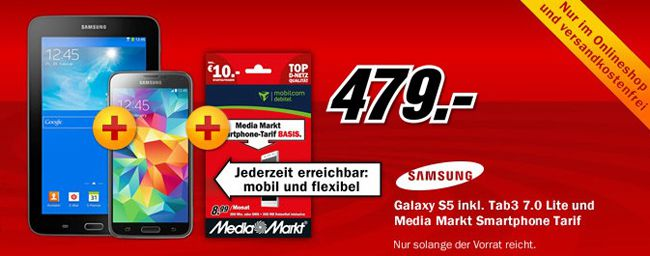 Samsung Galaxy S5 + Tab3 7.0 Lite für 479€ (statt 553€)