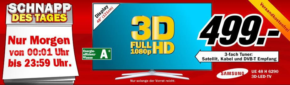 Samsung UE 48  Samsung UE48H6290   48Zoll 3D WLan Smart TV für 499€ inkl. Versand