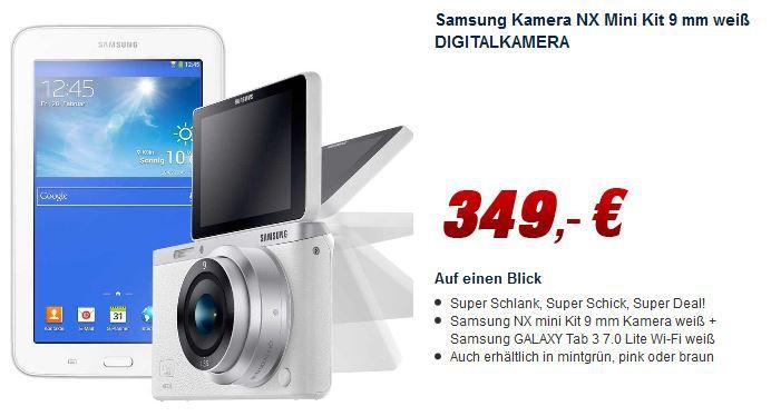 Samsung NX Mini    20 MP Smart Systemkamera mit 9mm Objektiv + Samsung GALAXY Tab 3 7.0 Lite Wi Fi  für 349€