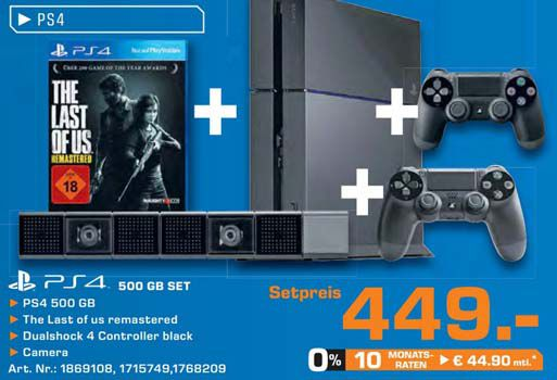 Saturn PS4 Sony PlayStation 4 + 2. Controller + Kamera + The Last of Us für 449€   Update