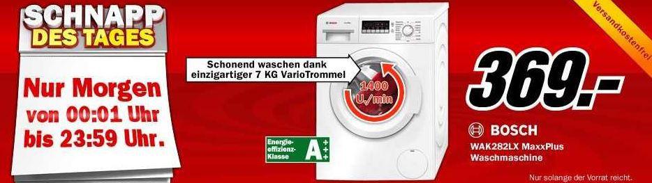 Schnapp BOSCH WAK282LX MaxxPlus   Waschmaschine mit 7Kg und 1.400U/min für 369€