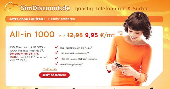 Simdiscount All in 1000 Tarif (o2, 250 Minuten, 250 SMS, 1GB Internet, monatlich kündbar) für nur 9,95€ monatlich