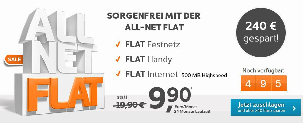 Simyo All Net Flat mit 240€ Ersparnis für nur 9,90€ monatl.   Update!