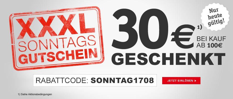 Sonntag 30€ Rabatt im XXXL Shop auf ausgewälte Artikel ab 100€