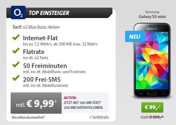 Sparhandy Angebot o2 Blue Basic Tarif + Samsung Galaxy S5 mini knapp 339€ über 24 Monate