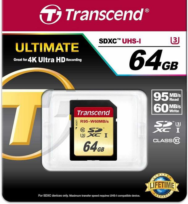 Speicher Transcend SDXC UHS I U3 64GB Speicherkarte (95 MB/s Lesen, 60MB/s Schreiben) für 34,90€