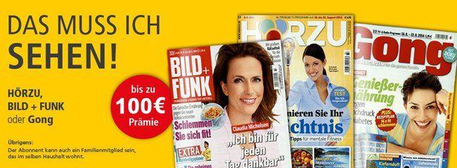 TV Zeitschriften 1 Jahr TV Zeitschriften Bild+Funk, Hörzu oder Gong ab effektiv 1,40€ dank 100€ Otto Gutschein oder 95€ MeinPaket Gutschein