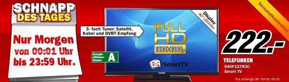 Telefunken TELEFUNKEN D40F127R3C   40Zoll Smart TV mit PVR und triple Tuner für 222€