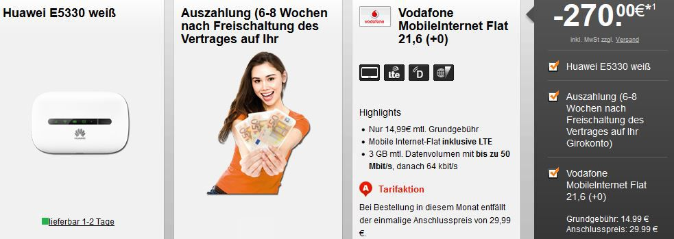 Vodafone Huawei E5330 Router + 3GB Vodafone LTE 50 Mbit/s Datenflat für 3,74€ monatl.