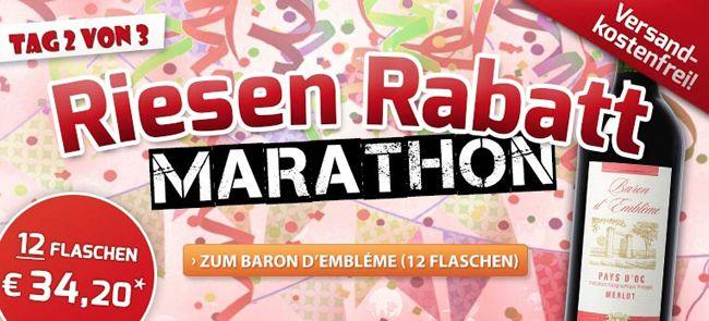 Weinvorteil Marathon1 12 Flaschen Baron dEmblème Merlot Rotwein für 34,20€ + 6 Flaschen Contado oder Pierre Baptiste geschenkt