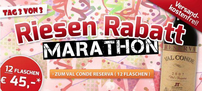 Weinvorteil Marathon2 12 Flaschen Val Conde Rotwein ab 30€ + 6 Flaschen Contado oder Pierre Baptiste geschenkt