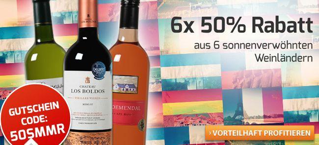 Weinvorteil Rabatte 50% Rabatt auf alle nicht bereits rabattierten Weine aus Spanien, Italien, Argentinien, Chile und Frankreich