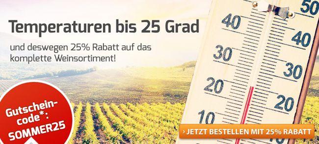 25% Rabatt auf ALLES bei Weinvorteil   auch auf reduzierte Weine!