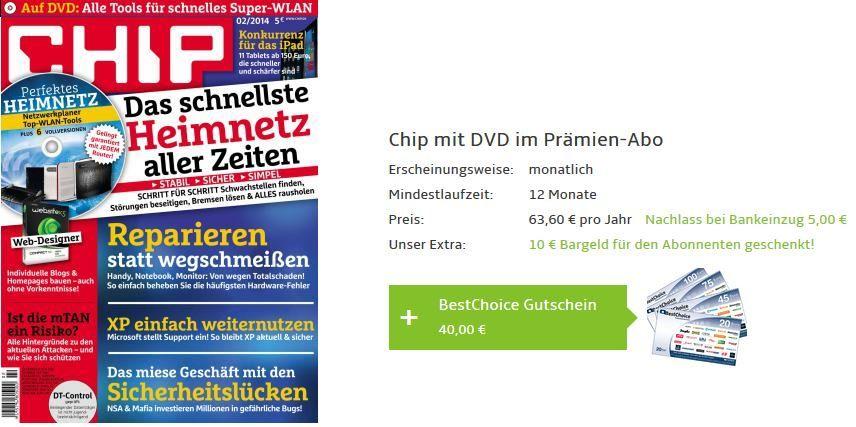 CHIP mit DVD im Jahresabo dank Prämien   effektiv für nur 8,60€ im Jahr!