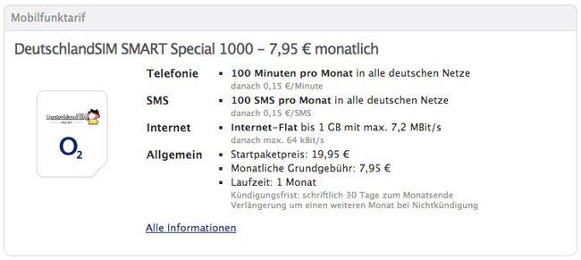 eteleon eteleon SMART Special 1000 (100 Freiminuten, 100 SMS; 1GB Internet) nur 7,95€ monatlich