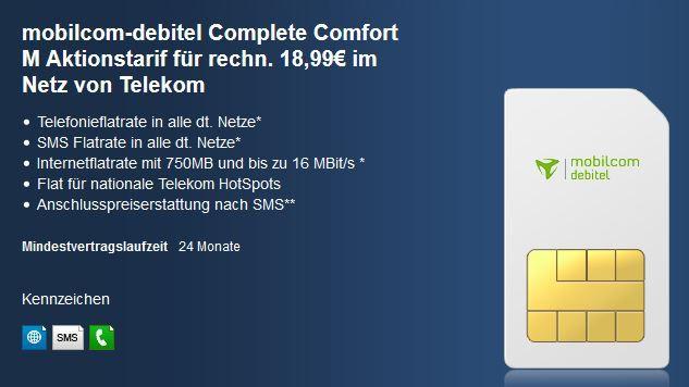 handyliga Telekom Complete Comfort M mit Allnet und SMS Flat, sowie 750MB internet Flat für effektiv nur 18,99€   Update