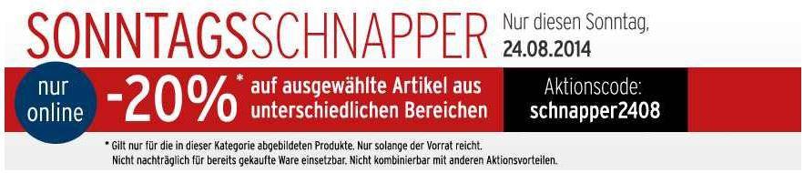 Karstadt mit 20% Rabatt auf ausgewählte Artikel bis Mitternacht!