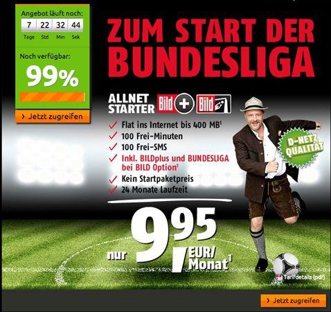 klarmobil Allnet Starter Tarif + BILDplus Abo mit Bundesliga Option für nur 9,95€ im Monat