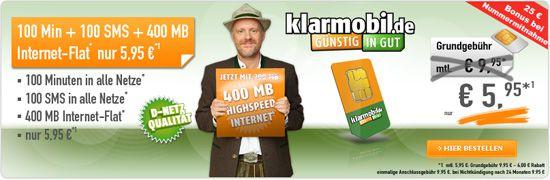 Klarmobil Allnet Starter Tarif (100 Freiminuten, 100 SMS, 400MB, D Netz) für 5,95€ monatlich