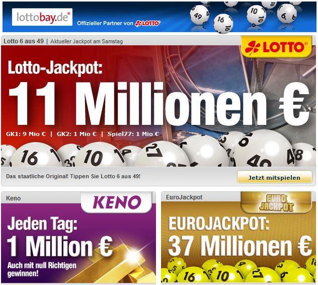 lottobay lottobay mit 5€ Neukunden Gutschein bei nur 6,60€ MBW