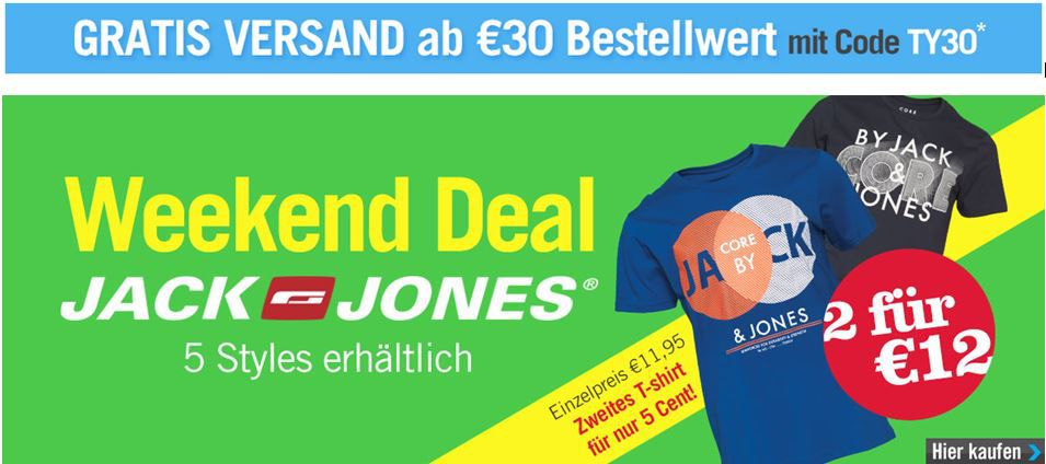 MandMdirect mit 80% Rabatt auf viele Artikel z.B. 6 T Shirts Jack&Jones für 36€ inkl. Versand