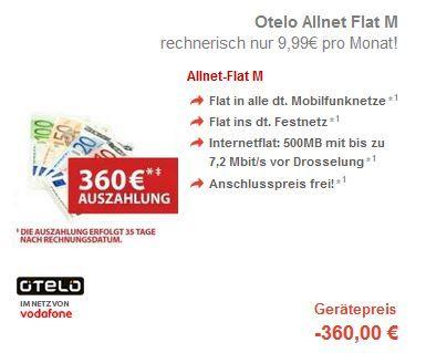 Otelo Allnet Flat M in alle Netze + 500 Datenflat für effektiv 7,49€ dank Prämie   Update!