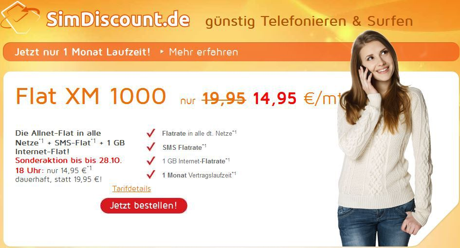 Simdiscount XM 1000 Allnet Flat + SMS + 1GB Internet: monatlich kündbar für nur 14,95€/Monat