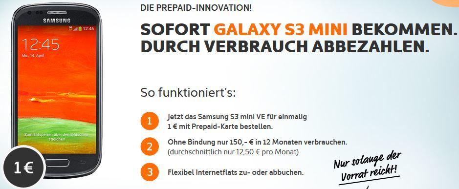Samsung Galaxy S3 Mini Value Edition als Prepaid durch 150€ Verbrauch abbezahlen   Update!