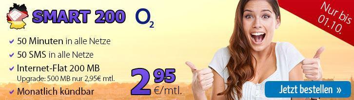 smart DeutschlandSIM Smart 200   wenig Nutzer Tarif (50 Freiminuten, 50 Frei SMS, 200MB Internet) für nur 2,95€ monatlich   Update