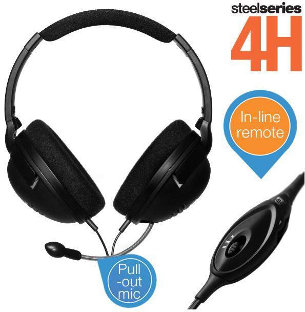 steelderies Steelseries 4H Gaming Kopfhörer mit In Line Lautstärkeregler und einziehbarem Mikrofon für 19,99€