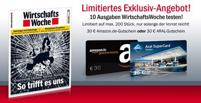 10 Ausgaben der Wirtschaftswoche dank Amazon  oder Tankgutschein mit effektiv 2,50€ Gewinn   Update