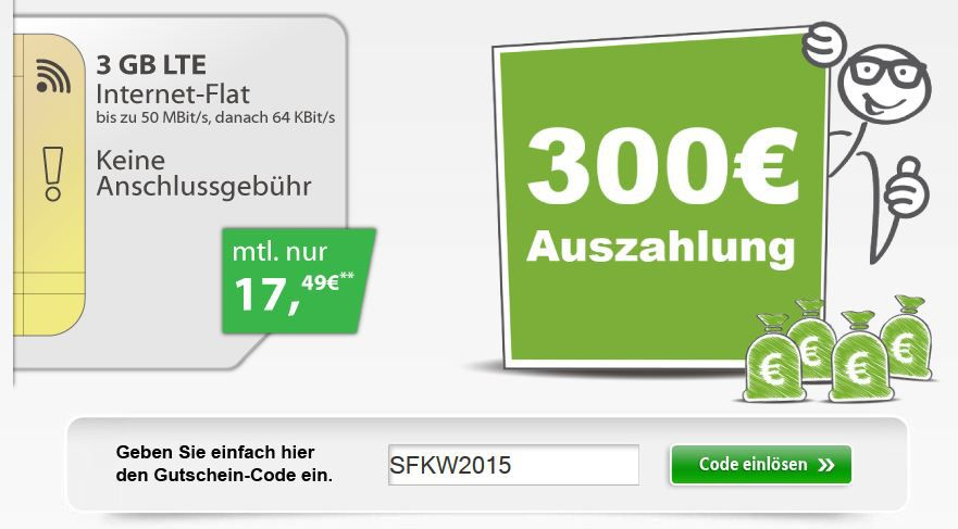 300€ Auszahlung 3GB LTE Vodafone DataGo M   dank 300€ Auszahlung effektiv nur 4,99€ mtl.