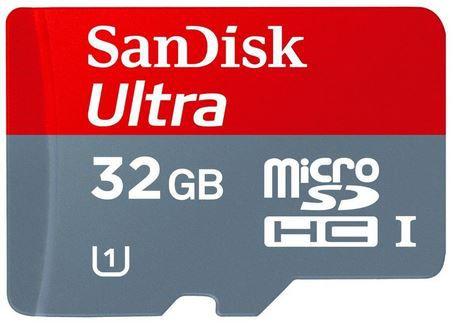 32gb1 SANDISK microSDHC   Ultra 32GB Speicherkarte mit Class 10, UHS I + SD Adapter für 9€