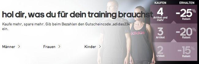 Adidas Sale Bis zu 25% Rabatt auf über 1.800 Trainingsartikel bei Adidas