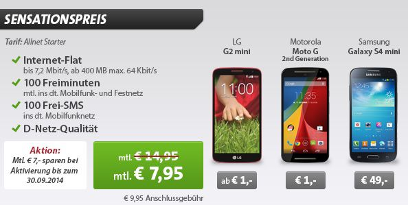 Allnet Starter mit Smartphone Klarmobil Allnet Starter Tarif + Smartphone für 7,95€ monatlich
