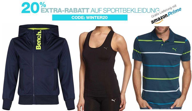 Amazon Sale 20% Extra Rabatt auf Sportbekleidung @Amazon z.B. für adidas, Bench, Burton, Columbia, Nike, Puma und VAUDE   Update!