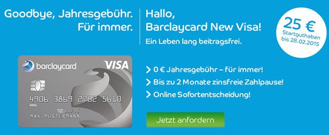 Barclaycard Beitragsfreie Barclaycard New Visa Kreditkarte + 25€ Startguthaben   Update